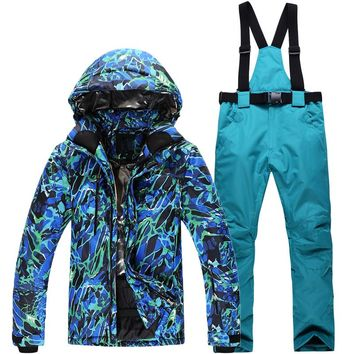 Man/Woman Snowboarding Clothes Winter Snow Suit Outdoor Sports Waterproof Thick -30 Warm Costume jackets+pants Ski suit sets