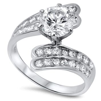 Sterling Silver 6 Prong Bypass Twist Double Row Cubic Zirconia Engagment Ring