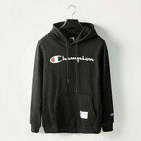 Champion print sweater black hoodie pullover