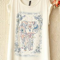 Elephant Print Bat Sleeve T-shirts