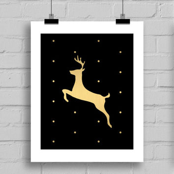 Black and Gold Sheet Deer Christmas Decorations Christmas Wall Art Digital Download Prints, JPG/PDF, (8x10 Inches)