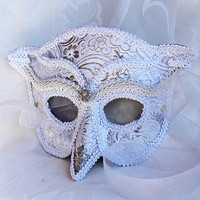 Made to Order White Silver Brocade Over Leather Owl Masquerade Mask