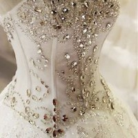 Sweetheart Corset Top Glitter Wedding Dress Beaded Crystaled Bridal Dress Gown