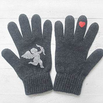 VALENTINE'S DAY Gift, Cupid Gloves, Hearts, Angel, Arrow, Special Gift, Valentine Gift, Lover Gift, Gift For Her, Women, Unique Gift, Grey