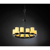 Justice Design Group CNDL-8763-10-AMB-MB CandleAria Black Flat Rim Twelve-Light Ring