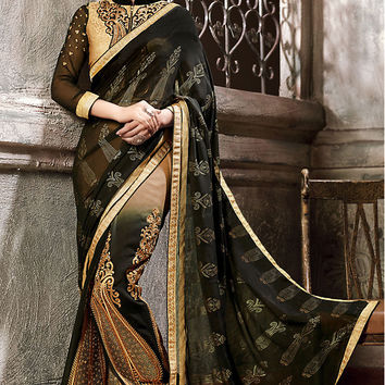 Black and Beige Georgette Embroidered Saree