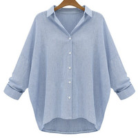 Blue Pinstripe Long Sleeve Plus Size Shirt