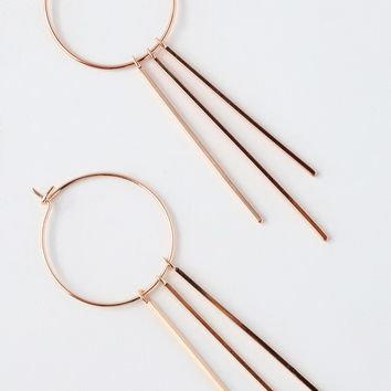 Elysian Rose Gold Bar Hoop Earrings