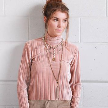 MINKPINK Pleated Velvet Top - Blush