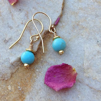 Tiny turquoise howlite drop earrings turquoise jewelry rustic wedding jewelry bridesmaid jewelry handmade earrings gifts for her birthday