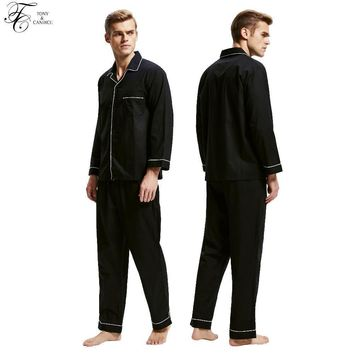Tony&Candice Men Pajamas Sleepwear 100% Cotton Men's Nightwear Long Sleeve In Winter Casual Home Wear Soft Nightgown Pyjamas Set