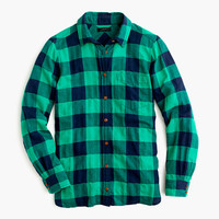 J.Crew Womens Tall Shrunken Boy Shirt In Emerald Buffalo Check
