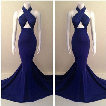 Blue Cutout Halter Bodycon Fishtail Maxi Dress