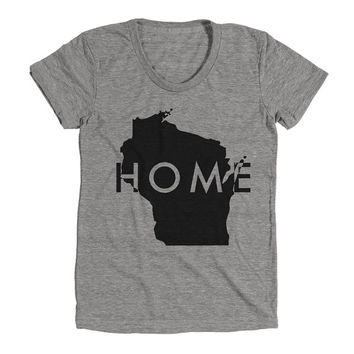 Wisconsin Home Womens Athletic Grey T Shirt - Graphic Tee - Clothing - Gift
