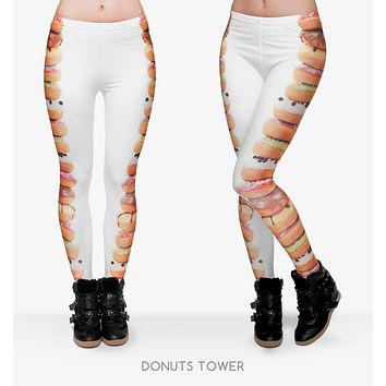 2017 Long Skinny Pants New 95% Polyester 5% Spandex 3D Donuts Tower Printed Women Girl Funny Basic Casual Leggins white