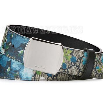 AUTH NEW MENS GUCCI BELT 424674 BLOOM GG SUPREME CANVAS LOGO BUCKLE 75 / 30