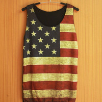 American Flag July 4th USA Flag US Flag America Flag National Flag Shirt Tank Top Tank Women silk screen
