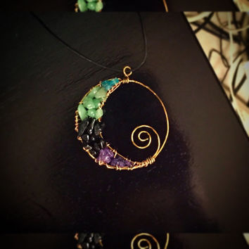 Luna Necklace- Crescent moon pendant with gemstones Appetite, Green Aventurine, Black Obsidian and Amethyst.