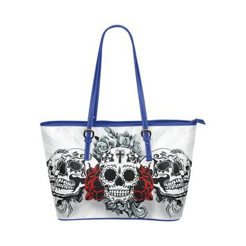 Hip Water Resistant Small Leather Tote Bags Sugar Skull #3 (5 Colors)