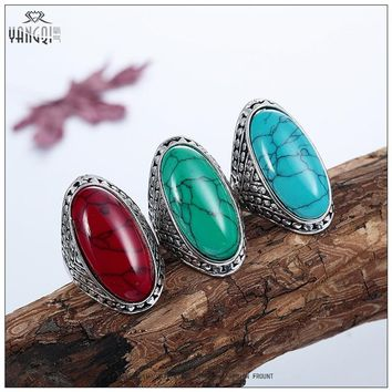 Vintage Bohemia Men Calaite Stone Rings Oval Natural Stone Best Friends Forever Gifts Bague Women Jewelry