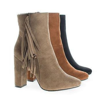 Lisa12 By Breckelle's, Pointy Toe Western Fringe Zip Up High Heel Block Ankle Boots