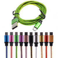 25cm/1M/2M/3M Micro USB Cable Phone Charger  Nylon USB Cable For Android Smart Phone for tablet PC