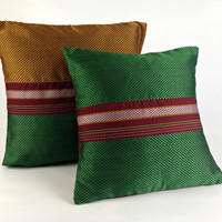 Ethnic Textile Pillow set, Bright Decor Boho Pillow, Green Pillow, 16X16 Pillow, Woven Pillow, Festive Decor, Sofa Pillow