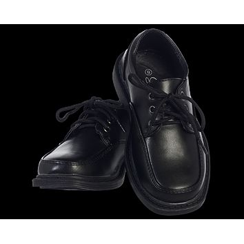 Black Matte Finish Oxford Lace Tie Dress Shoes (Boys 5 toddler - 6 youth)
