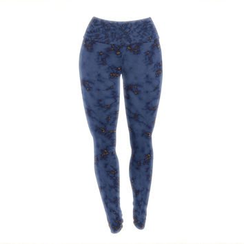 "Will Wild ""Blue & Gold Marble"" Navy Abstract Yoga Leggings"