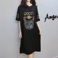 """Gucci"" Women Loose Casual Fashion Hot Fix Rhinestone Letter Cat Head Pattern Short Sleeve T-shirt Dress"