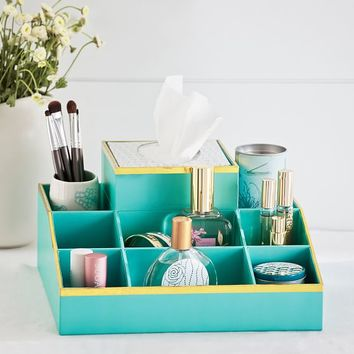 Jane Beauty Collection, 9 Compartment Organizer, Gold Trim