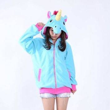 Unicorn Costume Hoodie in Pink or Blue with Cosplay Halloween Style Horn, Ears and Mane