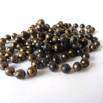 Vintage Necklace, Golden Brown Black Beads, Beaded Jewelry