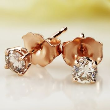 .925 Sterling Silver Ladies Round Cut Rose Gold CZ Stud Earrings 2mm-10mm Casting Setting