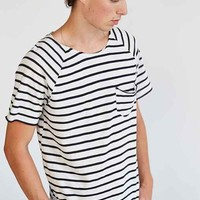 Feathers Stripe Open-Neck Raglan Tee- White