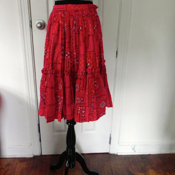 1950s-1960s Red Bandana Print Circle Skirt