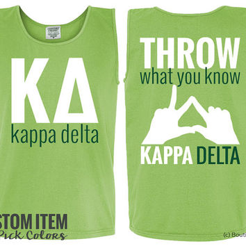 KD Kappa Delta Custom Throw Comfort Colors Sorority Tank