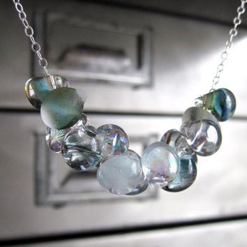 Ocean Bubbles Glass Drop Necklace  Soft Seafoam Aqua by ShySiren