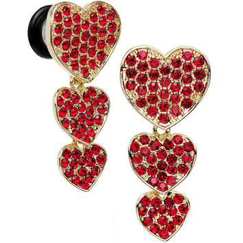 0 Gauge Red Gem Steel Triple Heart Single Flare Dangle Plug Set