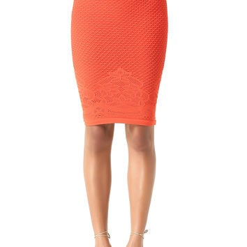 bebe Womens Lace Hem Midi Skirt Poinciana