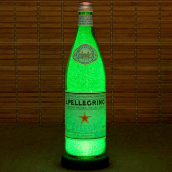 San Pellegrino 750ml Bottle Lamp Bar Night Light Emerald Green Sparkle and Glow