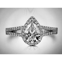 A Perfect 1CT Pear Cut Russian Lab Diamond Halo Split Shank Engagement Ring
