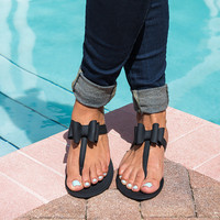 Jelly Bow Thong Sandals - Black