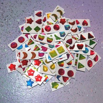 Vintage 90s Earring Stickers Jewelry // Cute Retro Glittery 3D Earring Stickers for Crafts, Accessories, or Body Jewelry // Set of Six Pairs