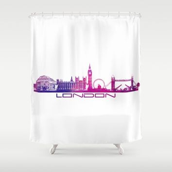 London skyline city pink Shower Curtain by Jbjart