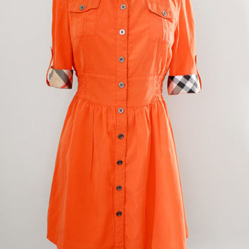 Vintage Burberry London Silk Shirt Waist Dress - A Line Skirt Tangerine Orange Dress - Size Medium