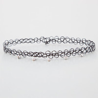 Rhinestone Tattoo Choker Black One Size For Women 25929110001
