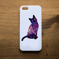 Cosmic Cat Handmade white phone case for iPhone 4, 4S, 5 and 5S