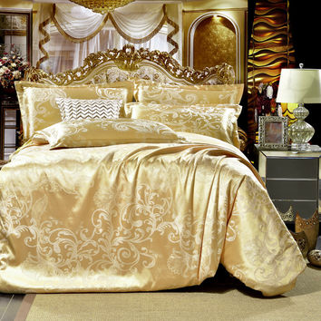 2016 NEW Gray flowers High Quality Silk Tencel satin Jacquard Bed linen Bedding set Queen king size Bedclothes Duvet cover set
