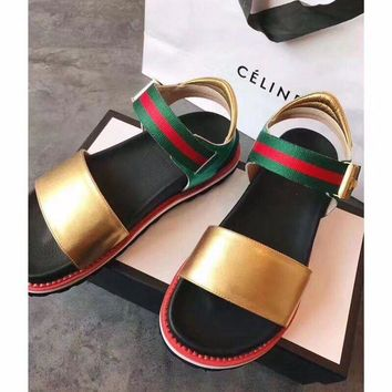 Gucci Sandals Leisure Gucci Slippers Shining Surface Women Shoes B/A Gold